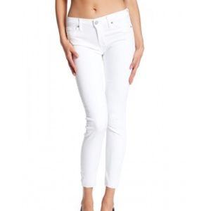 HUDSON Jeans White Krista Raw Hem Ankle Jeans